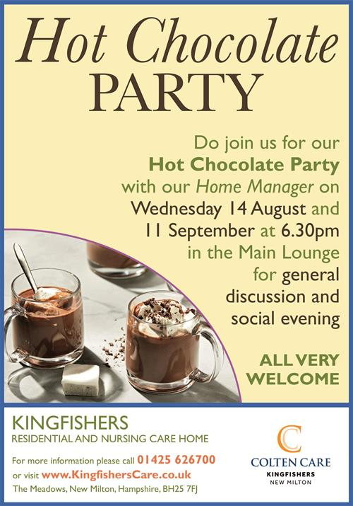 Kingfishers - Hot Chocolate Party Poster Aug + Sept - 5 Aug 2019