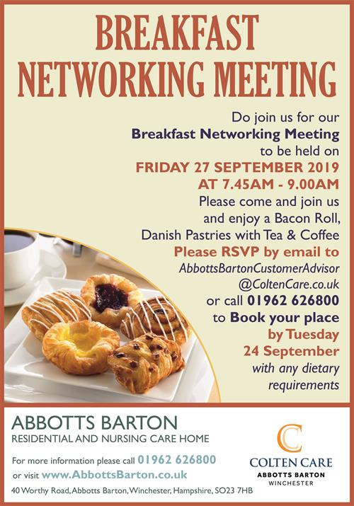 Abbotts Barton - Breakfast Networking Meeting Poster 27 Sept - 29 Aug 2019