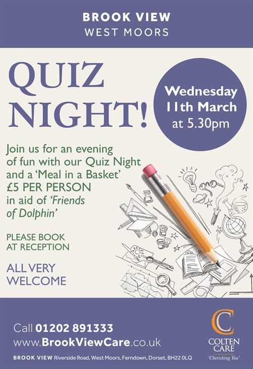 Brook View - Quiz Night Poster 11 Mar - 10 Feb 2020