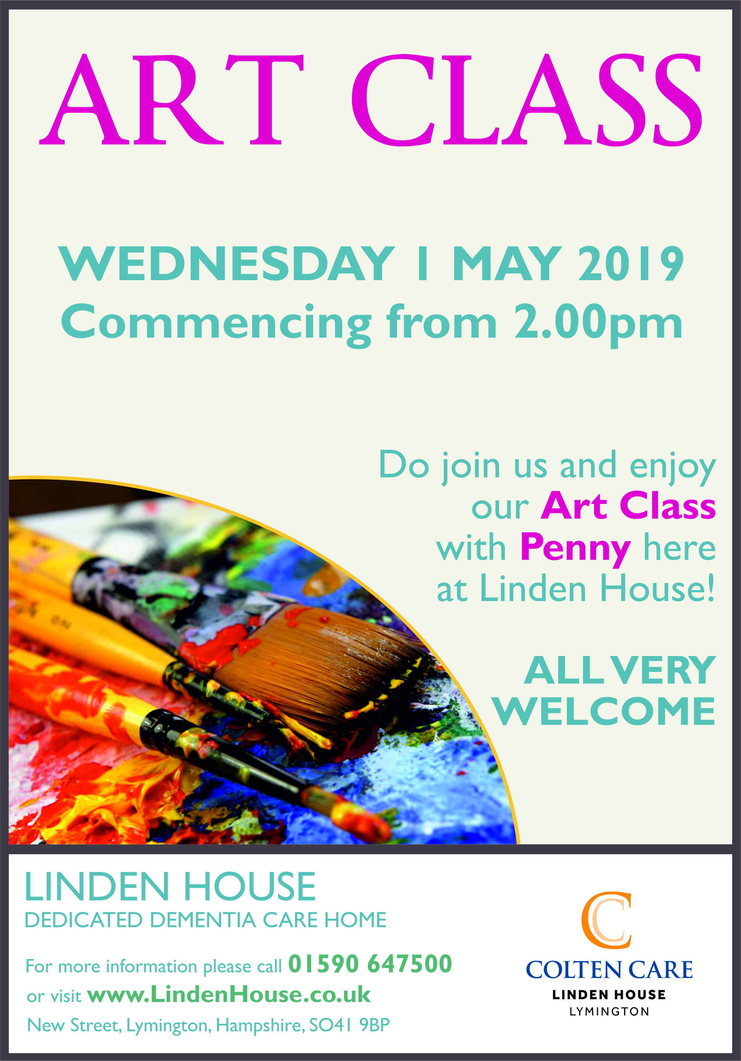 Linden House - Art Class Poster 1 May - 15 Apr 2019