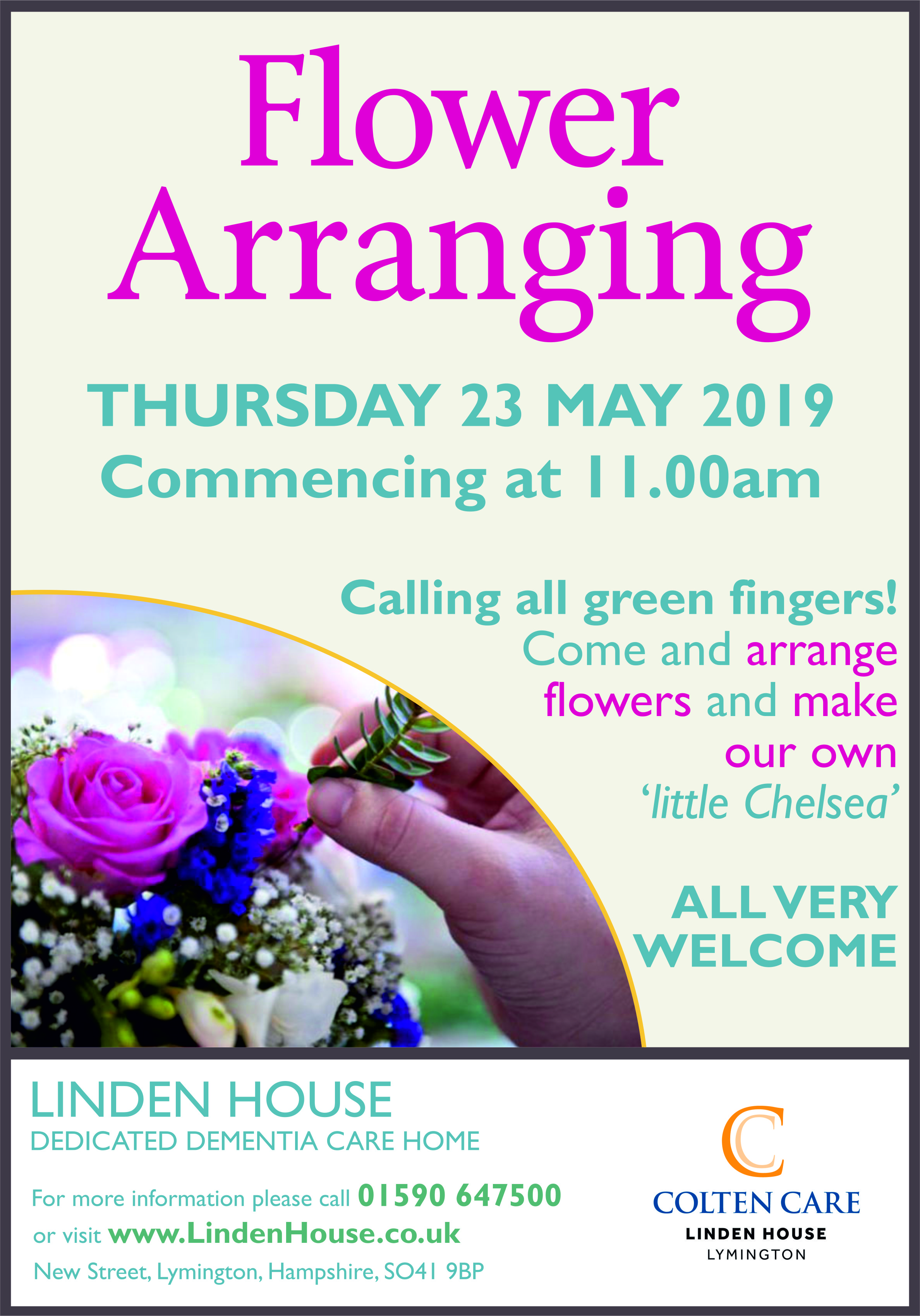 Linden House - Flower Arranging Poster 23 May - 15 Apr 2019