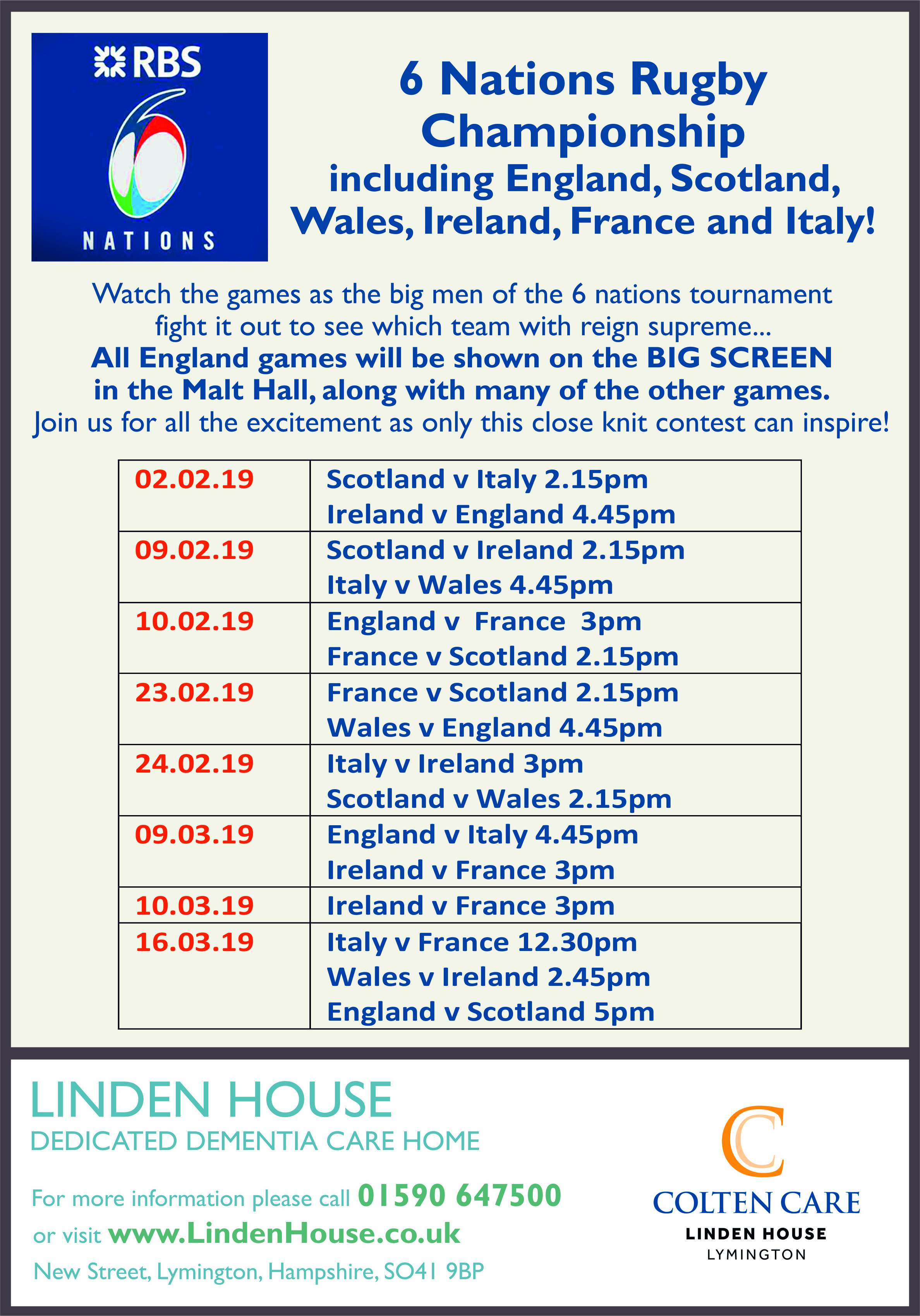 Linden House - RBS 6 Nations Rugby Poster - 4 Feb 2019