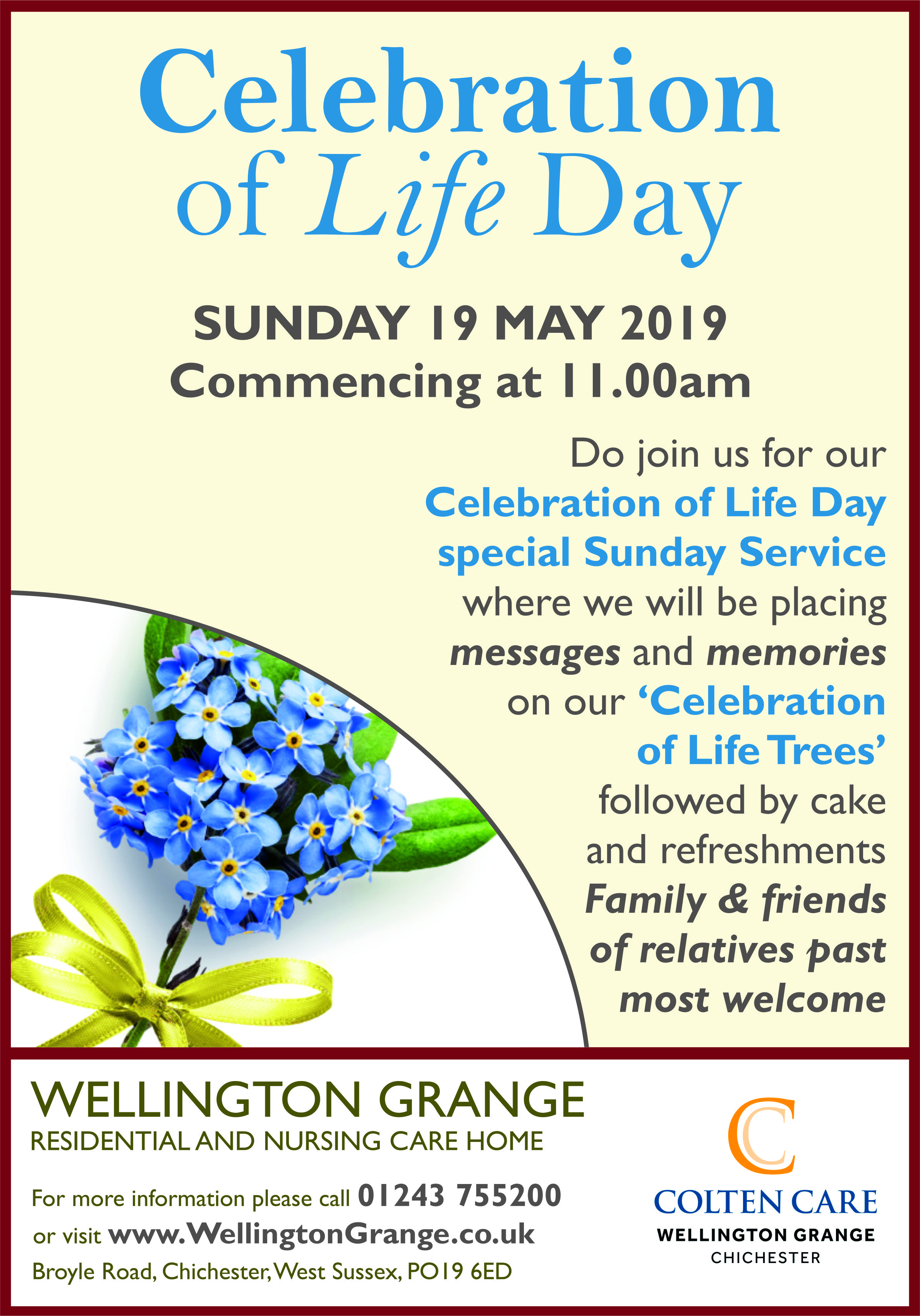 Wellington Grange - Celebration of Life Day Poster 19 May - 16 Apr 2019