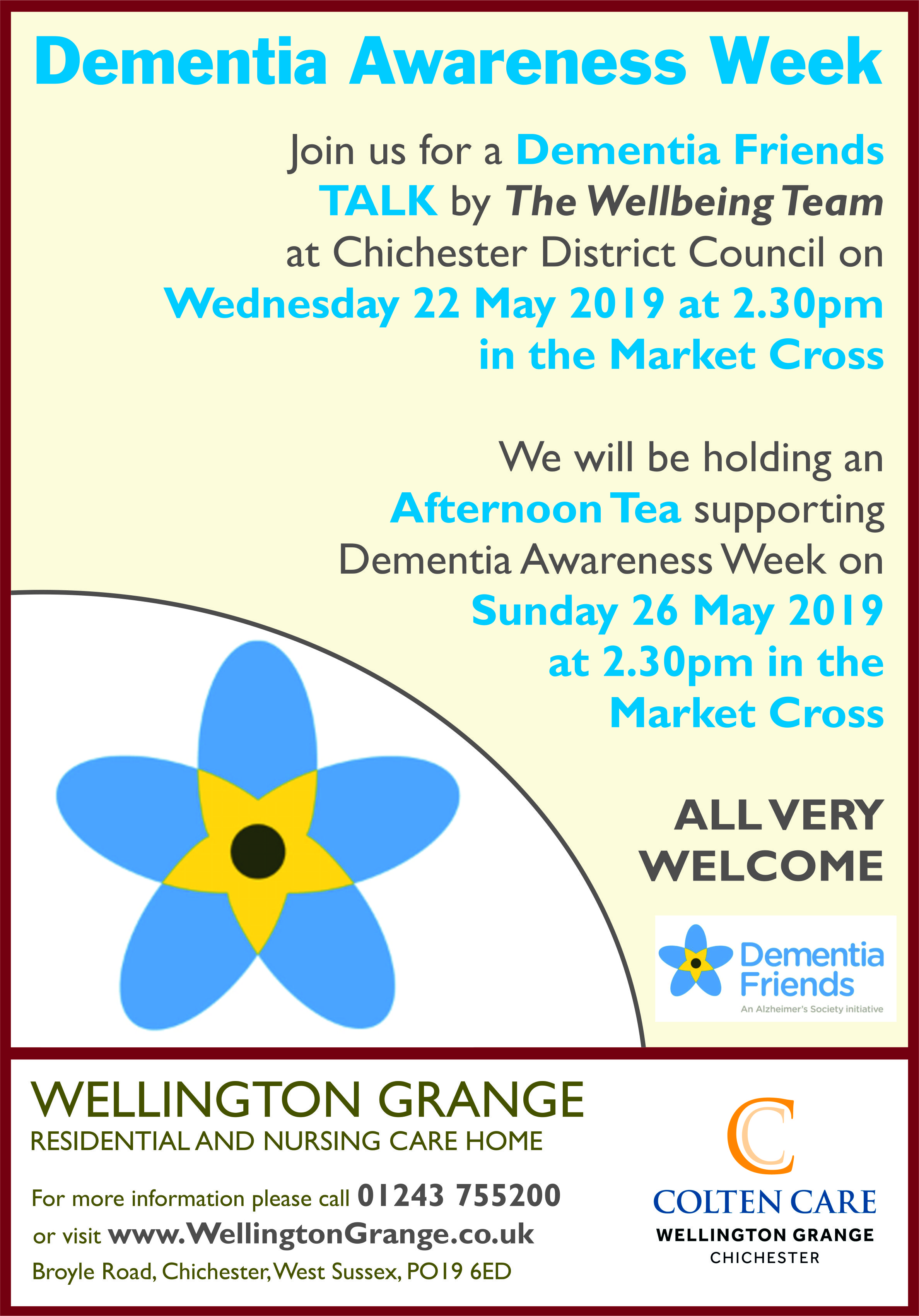 Wellington Grange - Dementia Awareness Week Poster 22 May - 16 Apr 2019
