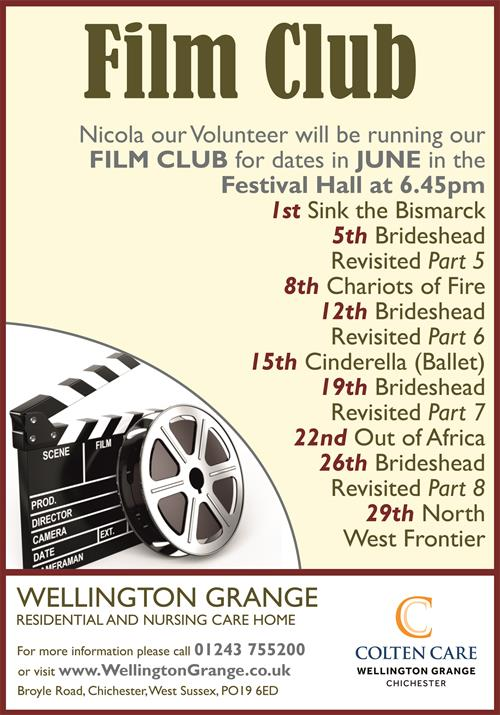 Wellington Grange - Film Club Poster August - 15 July 2019