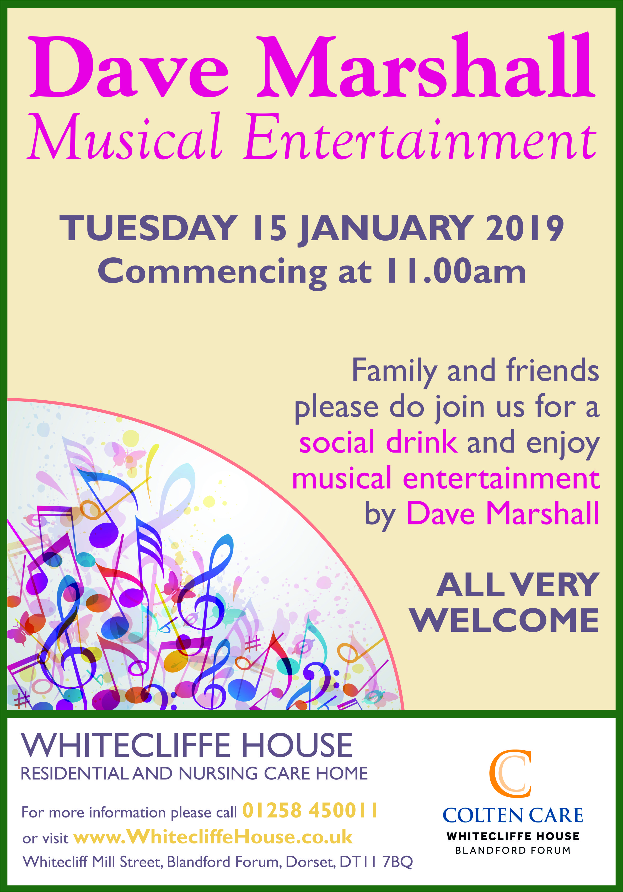 Whitecliffe House - Musical Entertainment Poster 15 Jan - 28 Nov 2018