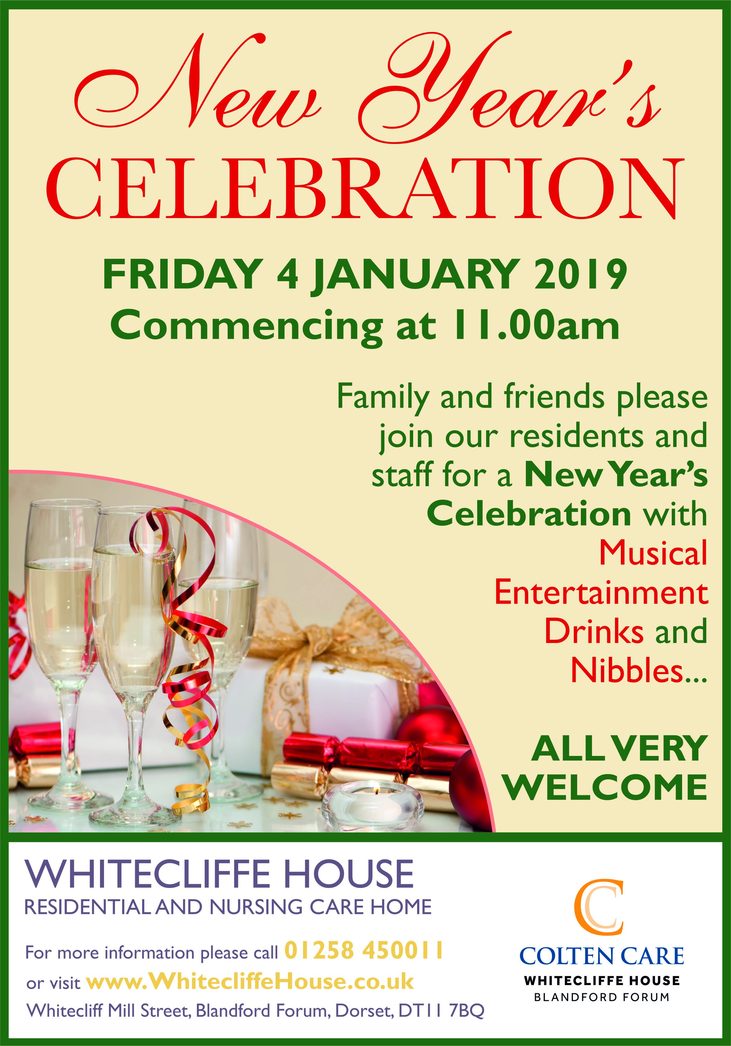 Whitecliffe House - New Years Celebration Poster 4 Jan - 28 Nov 2018