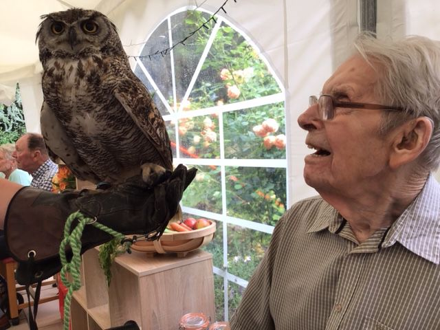 Alan Irving with  Punk a Great Horned Owl AB