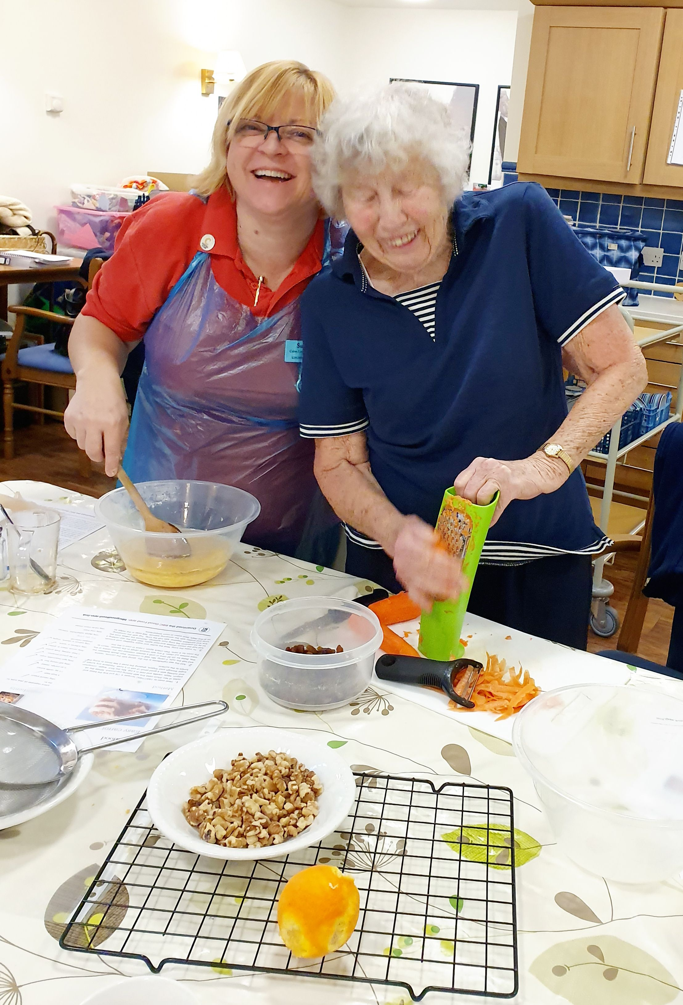 Companion Sue  Mollie making Carrot Cake KF